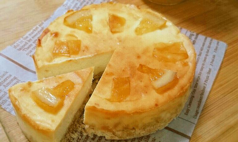 ジンジャーレモンのベイクドチーズケーキ