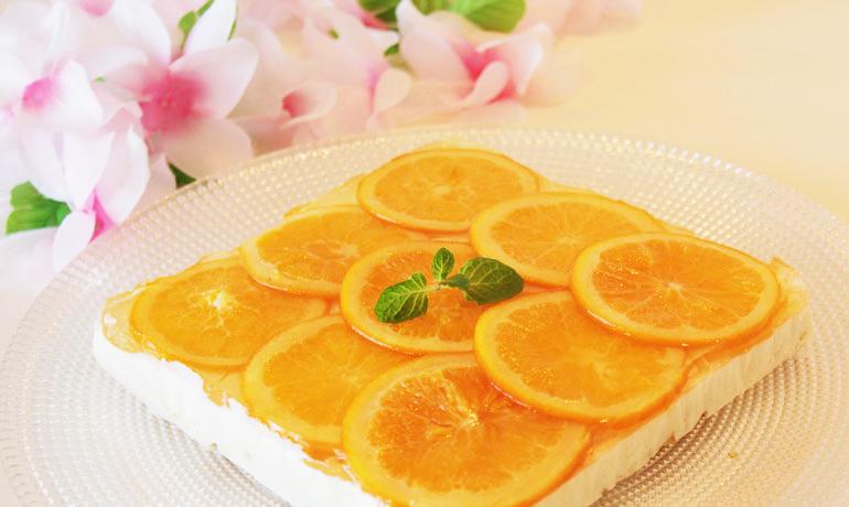 オレスラジャムの爽やかレアチーズケーキ
