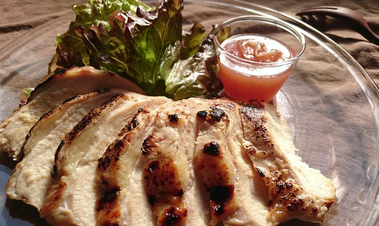 薔薇ジャムと鶏むね肉の簡単ローストチキン