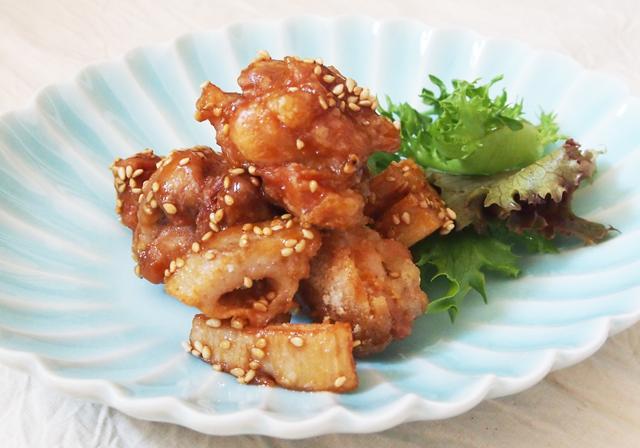 鶏肉と蓮根の蜂蜜胡麻揚げ02