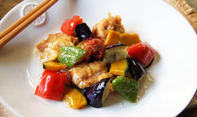 ローズメイビネガーでカラフル野菜の酢鶏