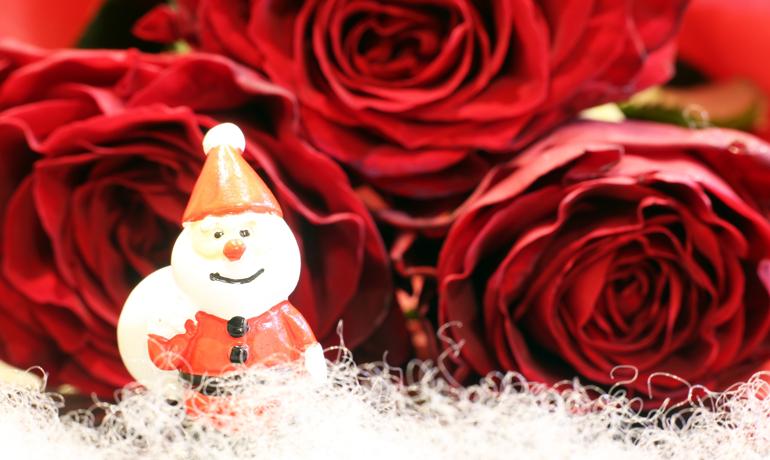薔薇を使ったクリスマスリース