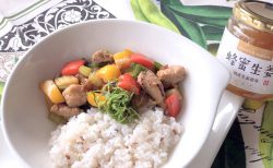 豚肉と野菜の蜂蜜生姜丼