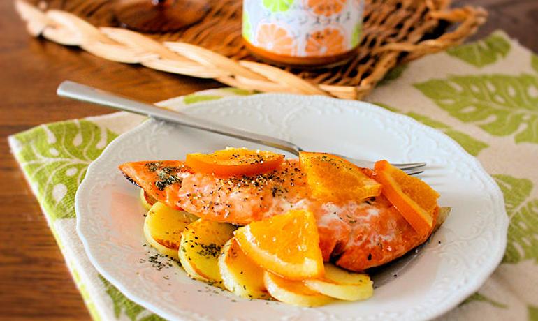 オレンジと鮭のムニエル
