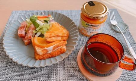 オレンジスライスジャムをのせた豆乳フレンチチーズトースト